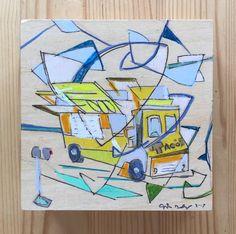 Los Angeles Drawing original art #laart #colorblocking #arclight #lacountystore #joeyderuy.com #ameba #tacotruck, #echopark #contemporaryart #california #socal