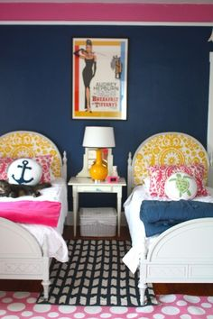 great bedroom for a girl--nice mix of brights + navy.