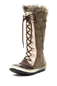 """Cate The Great Deco Boot in twill by Sorel $210 - $122 @HauteLook. - Round rubber toe - Leather construction with topstitching and whipstitching accents - Lace-up - Fleece lining - Faux fur trim - Waterproof - -25 degrees F (-32 degrees C) temperature rating - Approx. 13"""" shaft height, 18"""" opening circumference - Approx. 0.5"""" heel - Full grain leather upper, rubber sole"""