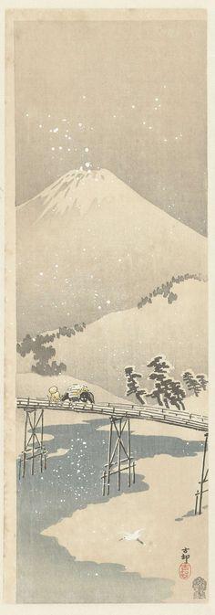 Sneeuwlandschap met de berg Fuji, Ohara Koson, 1900 - 1910