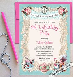 A personal favorite from my Etsy shop https://www.etsy.com/listing/248298972/alice-in-wonderland-invitation