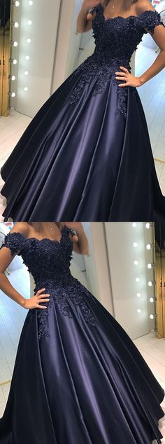 Charming off shoulder long prom dress, ball gown prom dress, modest prom dress, lace applique prom dress, navy blue  prom dress 51468	#RosyProm #fashionpromdress #charmingpromgown #longpartydress #simpleeveningdress #offshoulderpromdress #navybluepromgown