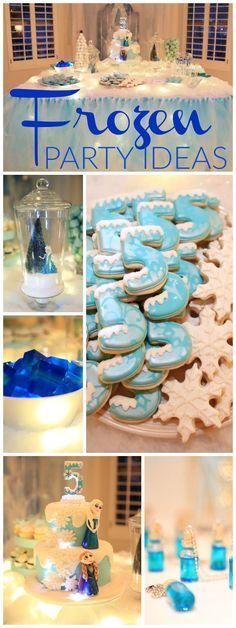 How gorgeous is this sparkly Frozen birthday party?! See more party ideas at CatchMyParty.com!