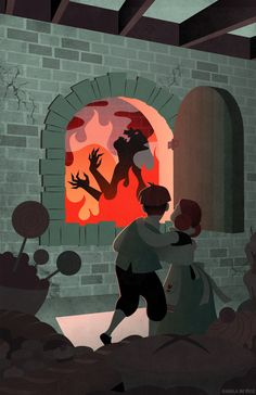 Hansel and Gretel burn the witch | illustration by Angela De Reis