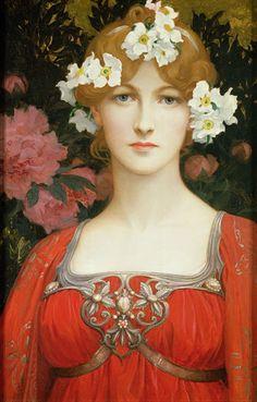 Elisabeth Sonrel (French 1874–1953) [Art Nouveau, Pre-Raphaelite] The circlet of white flowers.