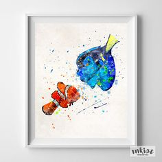 Finding Nemo Art, Finding Nemo, Marlin Art, Dori Print, Disney Poster, Disney Art Print, Watercolor Art, Kid Room Art, Mothers Day Gift