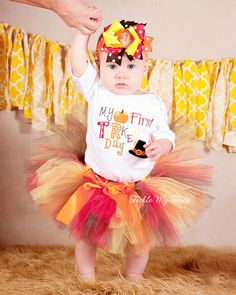 My First Turkey Day Thanksgiving Tutu Outfit, Thanksgiving Tutu Set, Baby's First Thanksgiving, Turkey Tutu Set