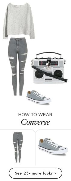 """#1StDayOfSchool21"" by lilythefangirl on Polyvore featuring H&M, Topshop, Converse and Dolce&Gabbana"