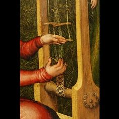 Lucas Cranach the Elder - Anhaltische Gemälde-Galerie, Dessau - Education of the Virgin Mary [right wing of a Lady Altar] - Detail Images Card Weaving, Tablet Weaving, Inkle Loom, Loom Weaving, Lucet, Textiles Techniques, Weaving Techniques, History Of Textile, Ancient Vikings
