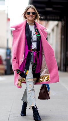NYC FFW 2017 ELENA This getup is screaming my name. Hot pink, Courtney love, combat boots...all of it