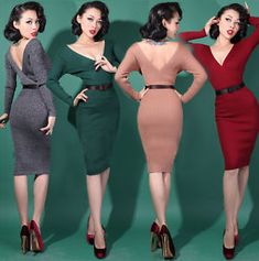 WIGGLE-Cocktail-DRESS-1950s-Retro-Vintage-style-Pin-Up-4-Colours-UK6-UK12