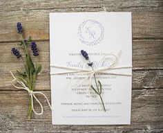 A lavender themed wedding invitation suite with a delicate lavender wreath as its central motif. The lavender motif includes the initials of the bride and groom. This wedding stationery suite would be perfect for a rustic, country or French lavender wedding theme. | eBay!