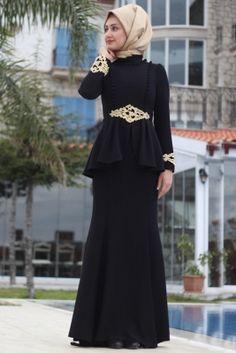 Minel Aşk Siyah Motifli Abiye Elbise