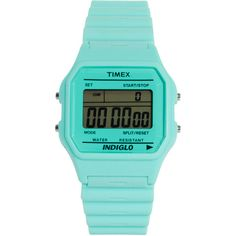Timex 80 Pastel Blue Buckle Clasp Watch ($77) ❤ liked on Polyvore featuring jewelry, watches, fillers, accessories, blue, bezel watches, blue watches, analog watches, plastic watches and analog digital watches