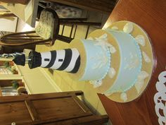 """""""You're my Light"""" #Lighthouse #wedding cake by www.americandreamcakes.com"""
