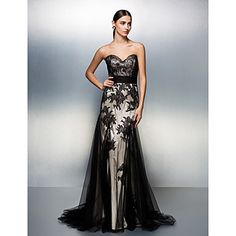 A-line Sweetheart Sweep/Brush Train Tulle Evening Dress . Black is classic! Good for any occasions! The design makes it even more mysterious!