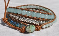 MInt and Silver 3X Leather Wrap Bracelet w Abalone Button, by SeaSide Strands