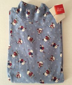 Croft & Barrow L Mock Turtleneck Snowman Long Sleeve Shirt Blue 100% Cotton  #CroftBarrow #Turtleneck #Casual