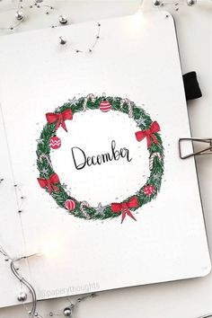30 best DECEMBER monthly cover ideas to add some festive vibes to your bullet journal! Bullet Journal Christmas, December Bullet Journal, Christmas Doodles, Christmas Cards To Make, Doodle Lettering, Lettering Ideas, Bullet Journal Inspiration, Journal Ideas, Christmas Tree Cookies