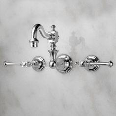 $219 Vintage Wall-Mount Bathroom Faucet - Lever Handles - Bathroom Sink Faucets - Bathroom