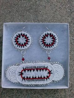 Beaded barrette and earring set, Urban Indian