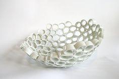 Custom order. White ceramic rocking fruit bowl by GolemDesigns