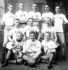 """Primer Plantilla del """"Allmänna Idrottsklubben"""" de Estocolmo, Suecia, cuando ganaron su primer campeonato,1900"""