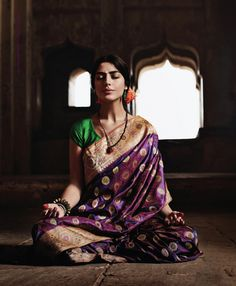 Purple and green silk saree