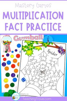 Multiplication facts games give your third grade students the hands-on practice they need to master their multiplication facts. Your students will love multiplication facts practice when they do it with a game. Perfect for small groups and math centers. #multiplicationgames #multiplicationfacts