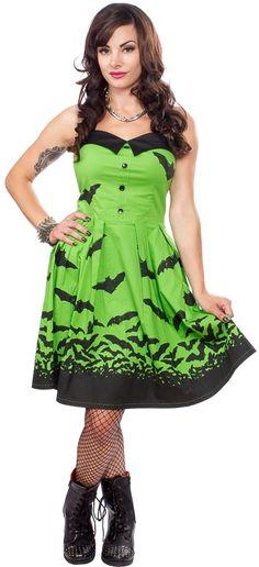 SOURPUSS SPOOKSVILLE BATS DRESS GREEN