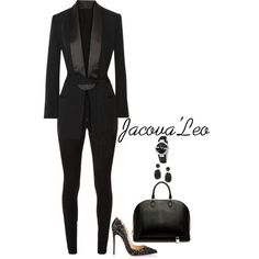 We Wear Blacc Everyday by jacovaleo on Polyvore featuring polyvore fashion style BLK DNM Victoria Beckham Christian Louboutin Louis Vuitton Gucci Melissa Joy Manning