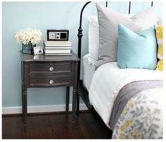 light blue, gray, and yellow. Love this color combo for the light blue room.   # Pin++ for Pinterest #