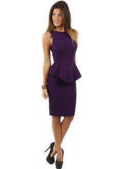 Vesper Melanie Purple Peplum Pencil Dress With Contrast Piping 52