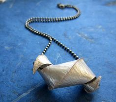 Fold formed sterling necklace. I love how sculptural it is!