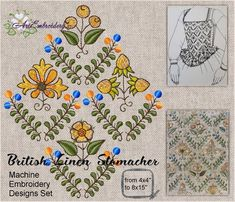 British Linen Stomacher with Cherry Rose Honeysuckle Embroidery Machines For Sale, Machine Embroidery Projects, Embroidery Software, Learn Embroidery, Embroidery Stitches, Embroidery Patterns, Flower Embroidery, Embroidery Files, Renaissance