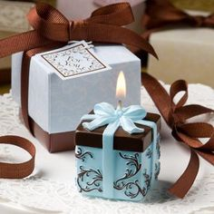 Brown And Blue Gift Box Collection Candle Favor at WeddingFavors.org