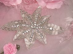 Silver Floral Beaded Clear Rhinestone Beaded Applique 4.75""