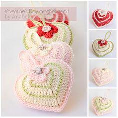 Anabelia Handmade: Valentine's Day crochet heart with chart. Corazones a crochet Crochet Chart, Love Crochet, Crochet Gifts, Crochet Motif, Crochet Flowers, Crochet Toys, Crochet Stitches, Knit Crochet, Crochet Patterns