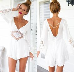 Wholesale macacao feminino 2015 jumpsuit women white lace culottes rompers womens jumpsuit overalls playsuit mono mujer bodycon jumpsuit from China :$13.97 | DHgate.com
