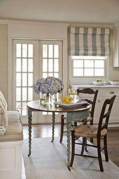 Breakfast Nook. Breakfast Nook Table. K. Lewis Interior Design via House of Turquoise