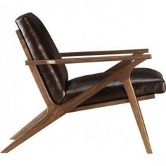 Cavett Leather Chair by Crate & Barrel: The mid-century lines