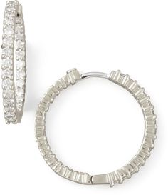 Roberto Coin 25mm White Gold Diamond Hoop Earrings, 1.53ct on shopstyle.com