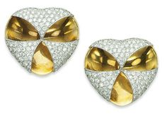 A PAIR OF DIAMOND AND GOLD EAR CLIPS, BY JAR  Each designed as a concave gold heart with pavé-set diamond part top.  Christie's
