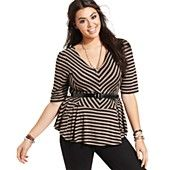 ING Plus Size Top, Elbow-Sleeve Striped Peplum Belted