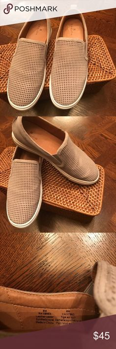 Caslon slip on mash tennis shoes Super comfy ❄️slip on suede perforated mesh gray tennis shoe Caslon Shoes Sneakers