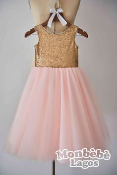 V Back Champagne Gold Sequin Pink Tulle Flower girl dress by MonbebeLagos #flowergirl#weddings#girlsdress