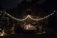 Intimate outdoor dinner party ... create the mood you're looking for with string lighting from www.PartyLights.com!