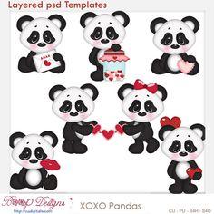 xoxo Pandas Layered Element Templates , cudigitals.com, cu, commercial, scrap, scrapbook, digital, graphics, clipart, Valentine,