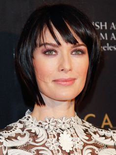 What About Bobs?  When she's not donning Cersei's long, blonde wig in The Game of Thrones, Lena Headey opts for a single-tone, ebony cut and purple eye shadow to play up her green eyes.      Read more: Best Short Hairstyles - Latest Short Haircuts - Real Beauty