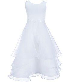 Jayne Copeland Big Girls 712 Sleeveless Satin Flower Ribbon Dress #Dillards